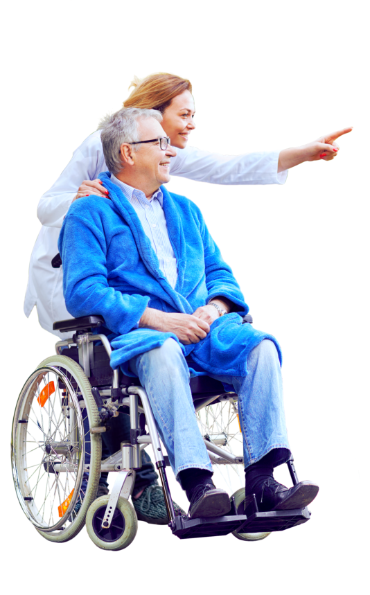 female caregiver assisting senior man on wheelchair