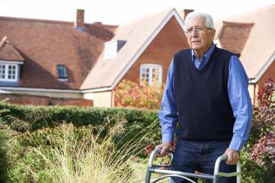 senior man on a crutch